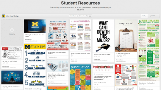 University of michigain - student resources - pinterest board