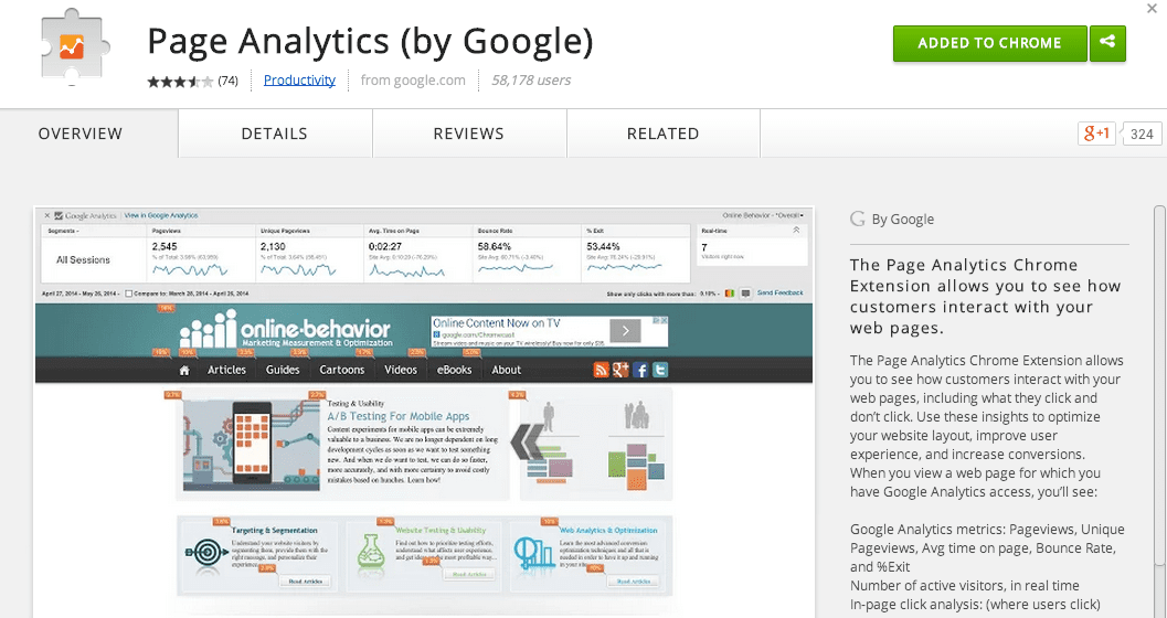 A new Page Analytics Chrome Extension for Google Analytics | Smart