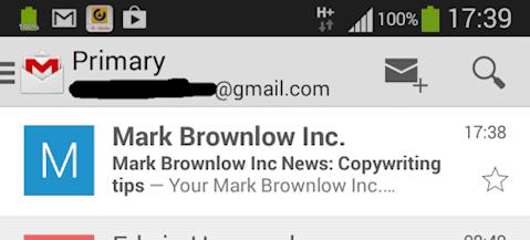 Poor inbox text