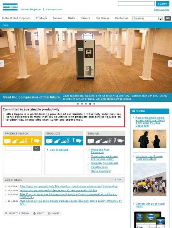 3.8 Atlas Copco home page