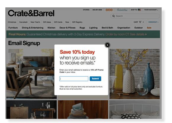 Crate&Barrelpopemailsignup