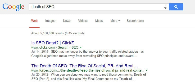 Death of SEO Search