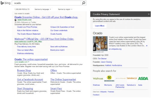 Ocado Bing Search