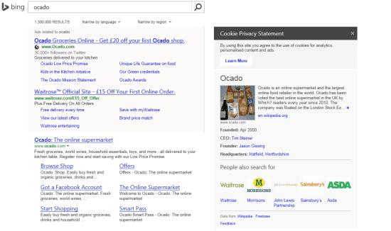 Ocado Bing Search
