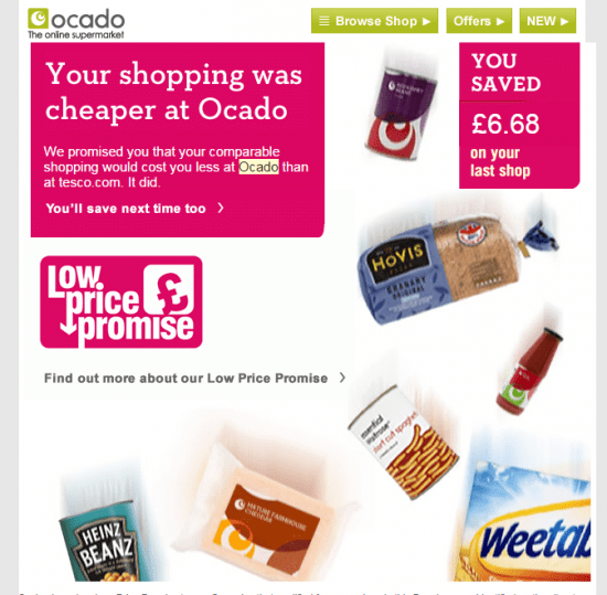 Ocado savings email