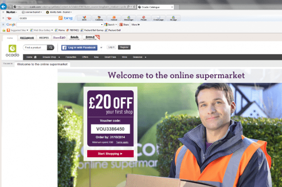 Ocado web new visitor
