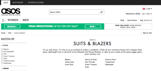 ASOS content category page