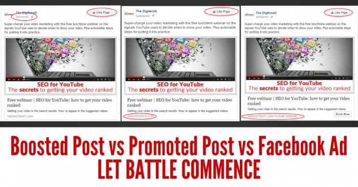 Boosted Post vs Promoted Post vs Facebook Ad