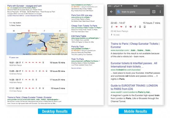 Eurostar search results