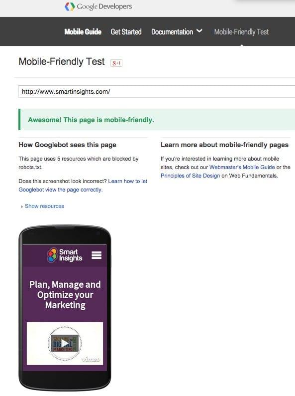 Google Algo Mobile Friendly Test
