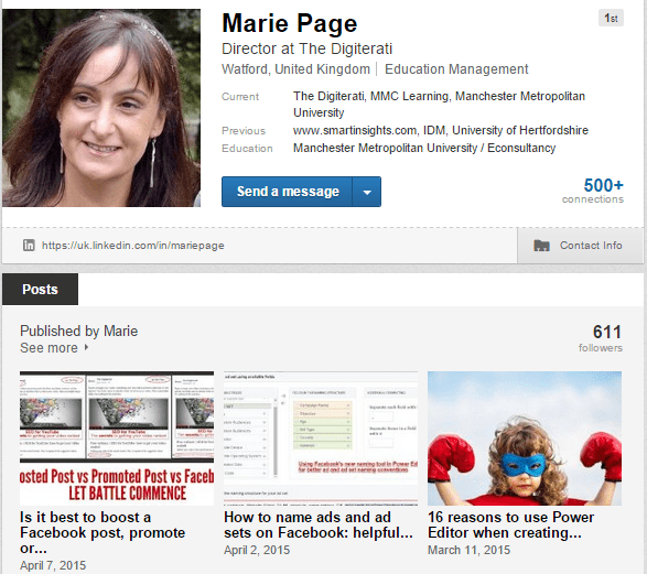 LinkedIn profile blogging