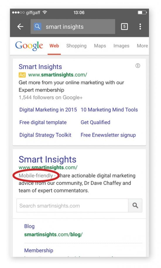 Mobile-friendly search result