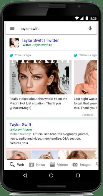 Example of Google Twitter integration