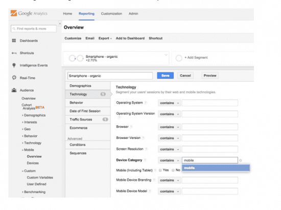 Google analytics reporting on your mobile keywords