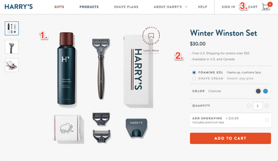Product page example with Harrys