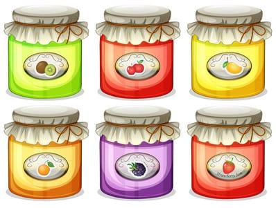 Six jam jars