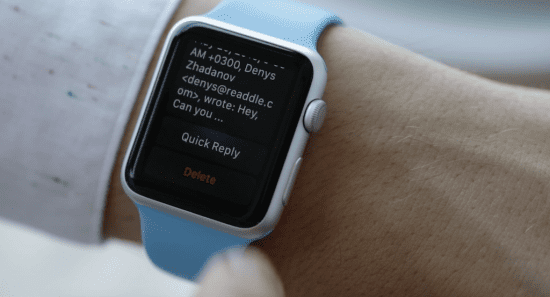 Email on smartwatch