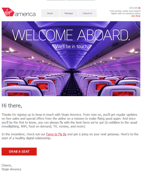 virgin hello welcome email