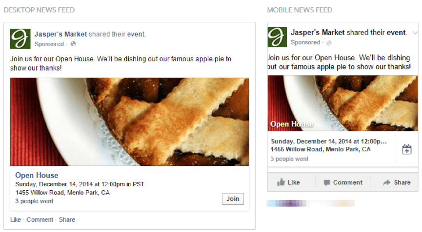 event responses facebook ad