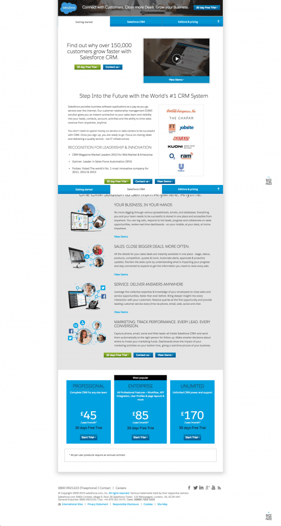 landing page example - long form - Sales force