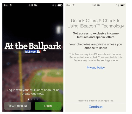 At the Ball park - IBeacon Apple Technology