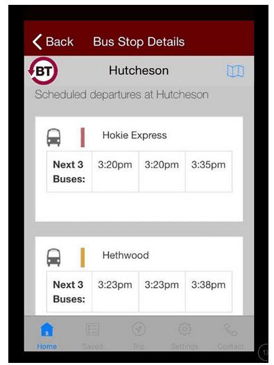 BT4U app technology used by Blacksburg Transit