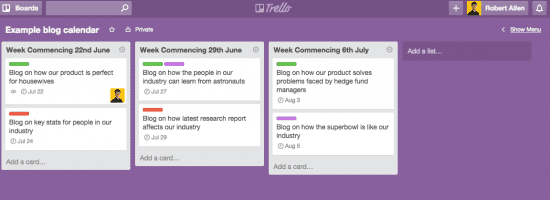 Trello blog calendar