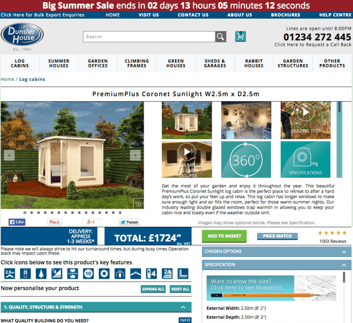 Dunster House Product Page