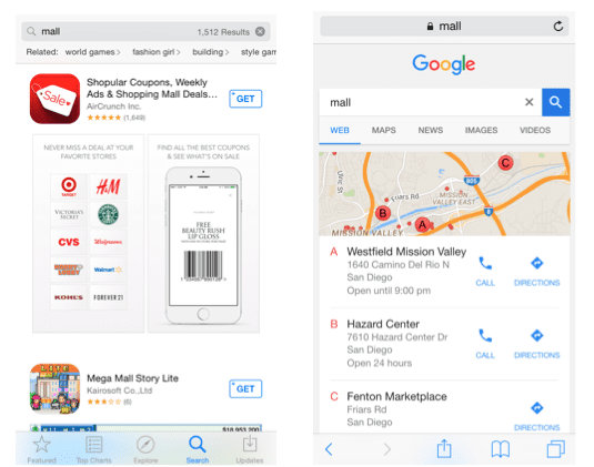 App Store / search: Different results