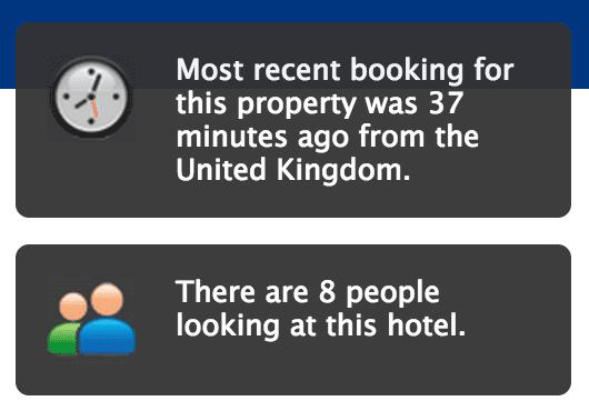 Booking.com - Most recent booking - social proof