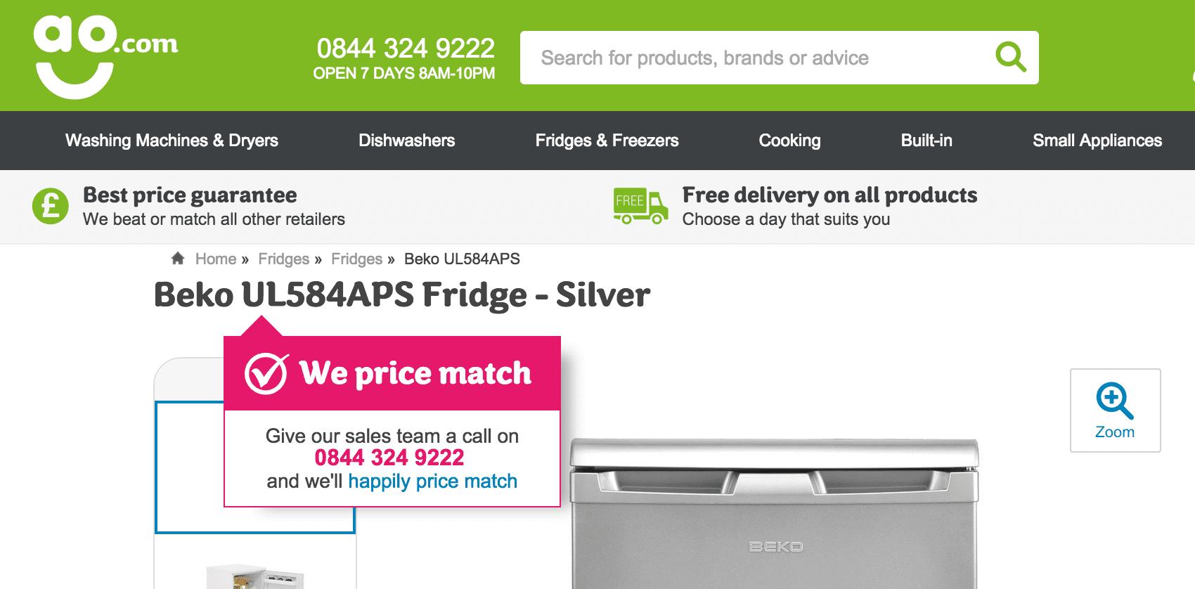AO.com - product title price match