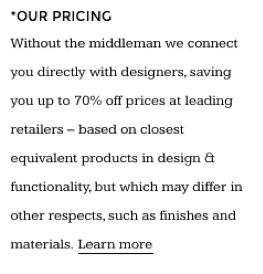 Made.com - Our Pricing