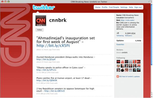 CNN Twitter page