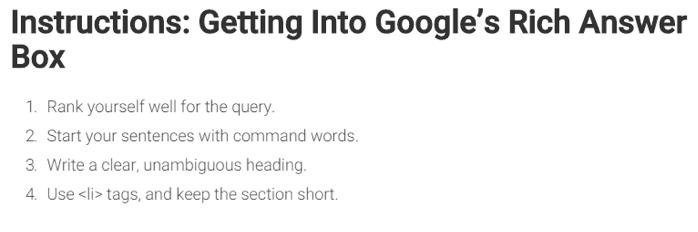 Google answer box