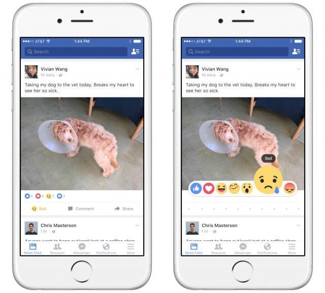 Facebook reaction emoji example