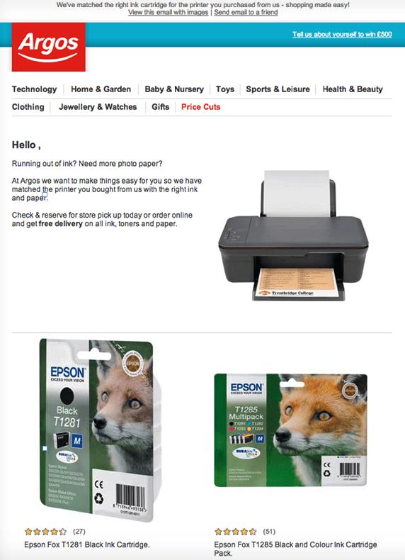 mensagem de marketing por email personalizada