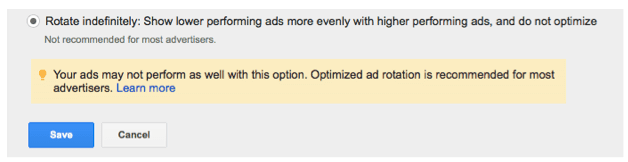google adwords rotate indefinitely