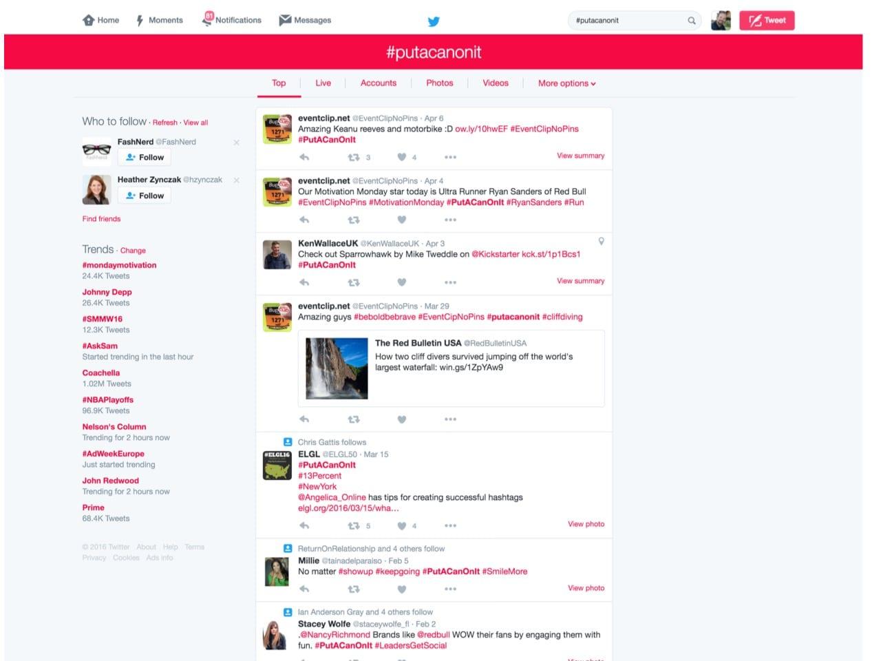 RedBull hashtag Twitter social media
