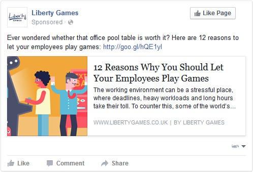 Liberty Games paid social media content ad