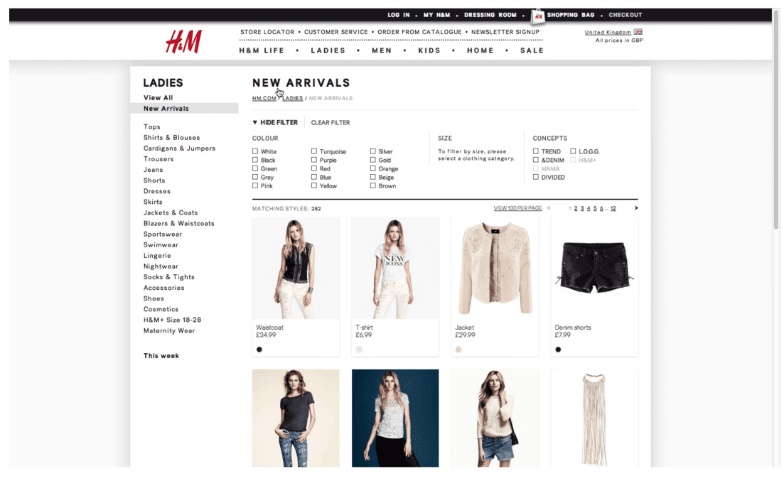 new ecommerce page