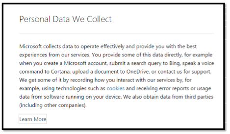 Personal data we collect