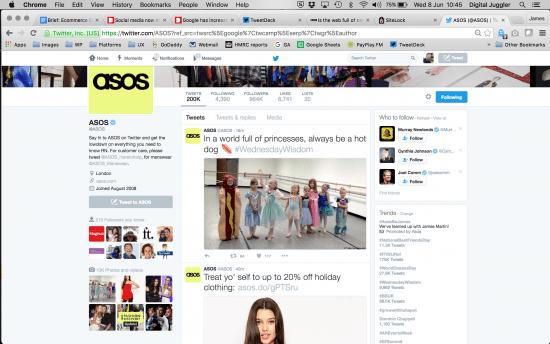 ASOS twitter feed