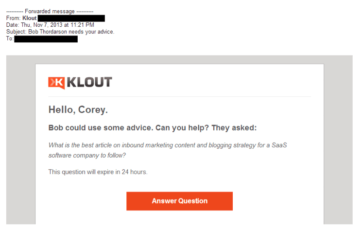 Klout subject line