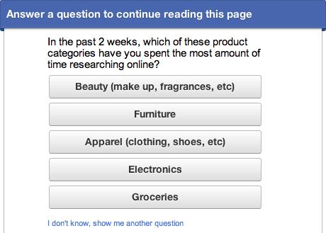 Google Consumer Surveys on web page