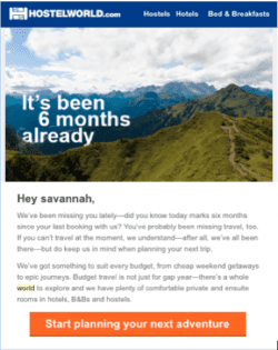 travel industry email example