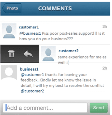 sales support comments Instagram