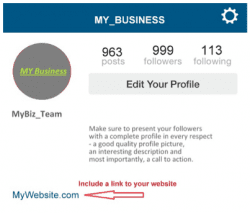 Instagram profile link business
