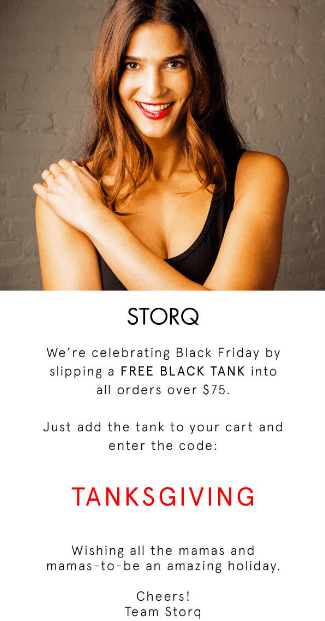 Black Friday Email example