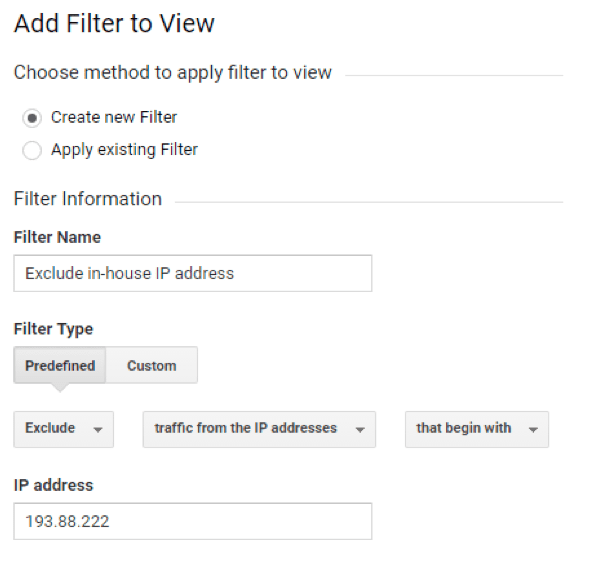 GA exclude in house IP address
