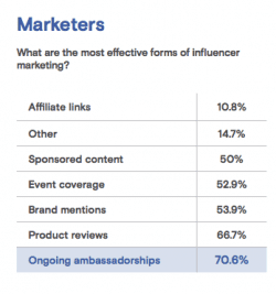 Brand ambassadors are most important for influencer marketing